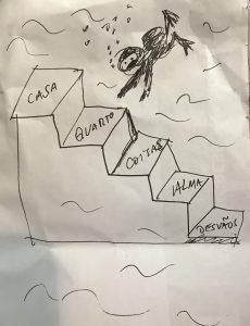 escafandrista na escada